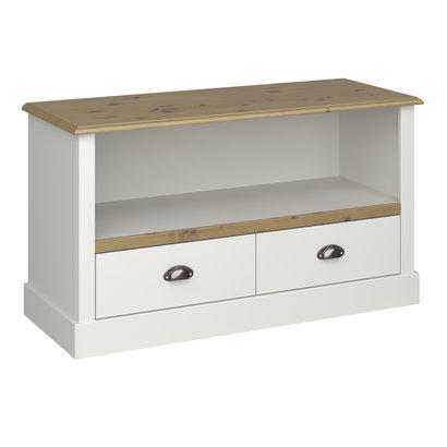 Hioshop Sandy TV-meubel met plank en 2 lades wit gebeitst.