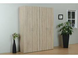 Tvilum Flexi 4-deurs kledingkast combi 2 met 2 hoedenplanken, 2 hangers, 2 legplanken in eiken decor.