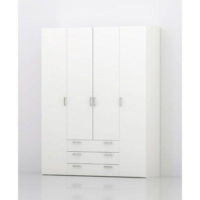 Tvilum Spell kledingkast 4 deuren en 3 lades wit.