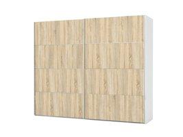 Veto kledingkast 2 deurs breedte 242 cm, eiken decor en wit.