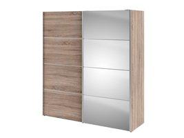 Tvilum Veto kledingkast 1 deur en 1 spiegeldeur B 182 cm, truffelkleur.