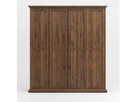 Venedig kledingkast 4 deuren, walnoten decor.