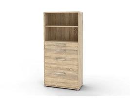 Prisme archiefkast 4 lades en 1 plank eiken decor.