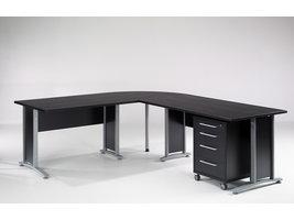 Prisme bureau 4 lades zwart decor en zilvergrijs staal.