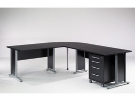 Tvilum Prisme bureau 4 lades zwart decor en zilvergrijs staal.