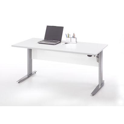 Tvilum Prisme bureau A elektrisch in hoogte verstelbaar wit en zilvergrijs staal.