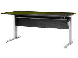Prisme bureau B elektrisch in hoogte verstelbaar zwart decor en zilvergrijs staal.