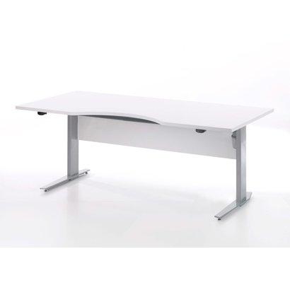 Tvilum Prisme bureau wit en zilvergrijs staal.