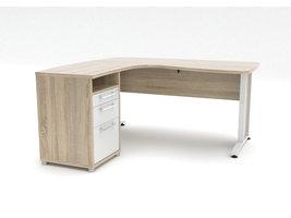 Prisme bureau 3 lades eiken decor en wit.