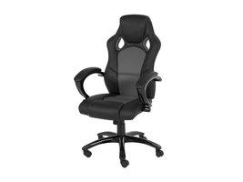 FYN Spica kantoorstoel zwart PU kunstleer, grijs.