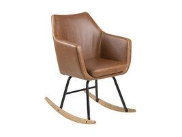 FYN Norman schommelstoel, cognac PU kunstleer, zwart metaal, eiken.