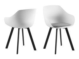 FYN Time eetkamerstoel in wit met lichtgrijs kussen en zwart metalen poten.