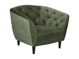 Rita fauteuil bosgroen, rubberhout zwart.