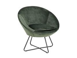 Cenna fauteuil bosgroen, zwart metaal.