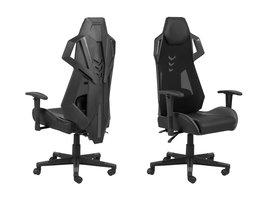 FYN Kercy bureaustoel gamestoel, verstelbare rug- en armleuningen, zwart/grijs.
