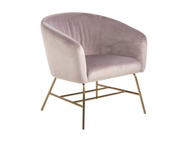 FYN Rae fauteuil dusty rose, chroom/messing gekleurd.