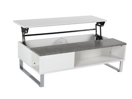 Allan salontafel met extra opbergruimte, betonkleurig en wit.