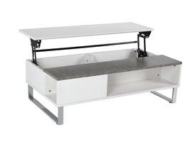 FYN Allan salontafel met extra opbergruimte, betonkleurig en wit.