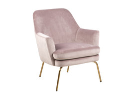 Chark fauteuil dusty rose, messingkleurig chroom.