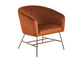 Rae fauteuil oranje, messingkleurig chroom.