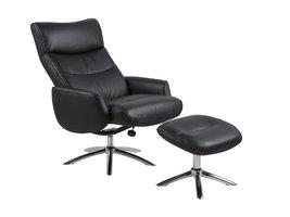FYN Wendy fauteuil incl. Voetenbank, zwart.