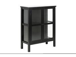 Etor vitrinekast 100 cm, 2 glazen deuren, zwart.