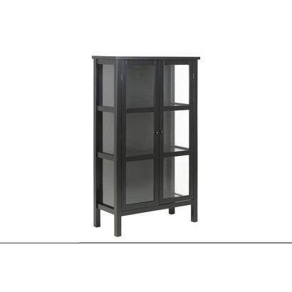 FYN Etor vitrinekast 137 cm, 2 glazen deuren, zwart.