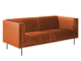 FYN Nelly 3-zitsbank oranje, zwart metaal.