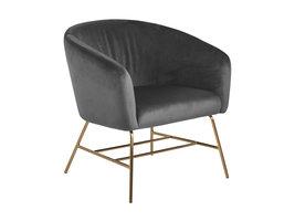 FYN Rae fauteuil donkergrijs, chroom/messing gekleurd.