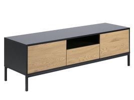 FYN Sea tv meubel zwart, eiken, zwart metaal.