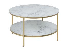 Almaz salontafel Ø80 cm, witte marmer print, goudkleurig chroom.