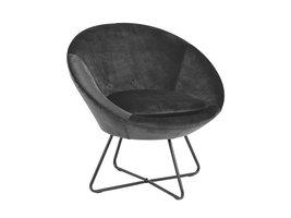 Cenna fauteuil donkergrijs, zwart metaal.