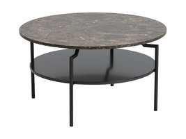 Goheen salontafel met 1 plank, zwart, bruine marmerprint, zwart staal.