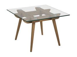 Ted salontafel 60x60 cm glas, eik.