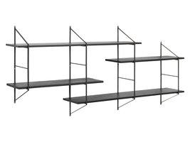 FYN Bosen wandrek met 4 planken, paulownia hout zwart gebeitst.