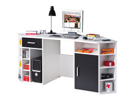 Favre bureau 1 deur, 1 lade, 13 open ruimtes wit, zwart.