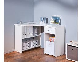 Grobe bureau 1 lade, 3 open ruimtes wit.