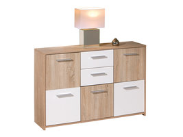 Hioshop Elsra kommode 5 deuren, 2 lades Sonoma eiken decor.