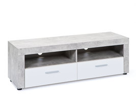 Hioshop Beat TV-meubel 2 lades, 2 ruimtes betondecor, wit.