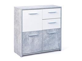 Nicar kommode 3 deuren, 2 lades betondecor, wit.