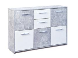 Flacs kommode 5 deuren, 2 lades betondecor, wit.