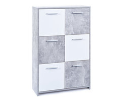 Hioshop Malsi kommode 2 deuren betondecor, wit.