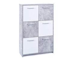Malsi kommode 6 deuren betondecor, wit.