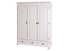 Drake kledingkast 3 deuren, 3 lades wit.