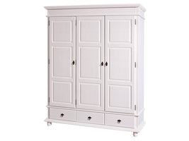 Hioshop Drake kledingkast 3 deuren, 3 lades wit.