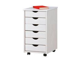 Hioshop Simra kommode kantoorarchief op wielen 6 lades wit.