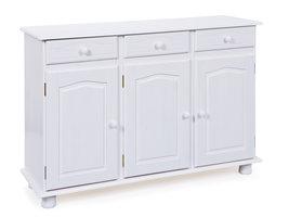Hioshop Livra dressoir 3 lades, 3 deuren wit.