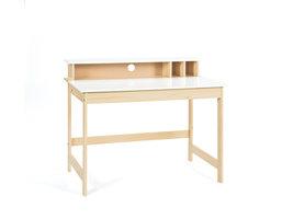 Hioshop Giese bureau 1 opklapbaar tafelblad, 3 open ruimtes Milkyskin, wit.