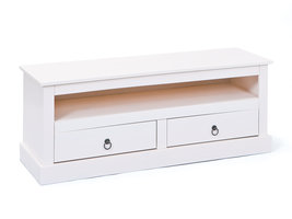 Hioshop Pall TV-meubel  2 lades, 1 ruimte wit.