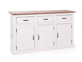 Hioshop Cassy dressoir 3 deuren, 3 lades antiek wit, bruin.